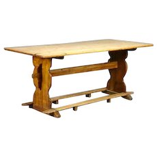 Swedish Pine and Oak Trestle Dining Farm Table