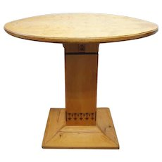 Swedish Arts and Crafts Inlaid Birch Round Pedestal Table