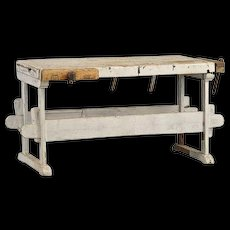 Scandinavian Industrial Painted Birch and Pine Work Bench Table