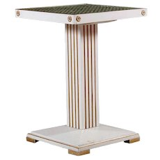 Swedish Jugendstil Painted Pine and Wallpaper Block Top Pedestal Square Side Table