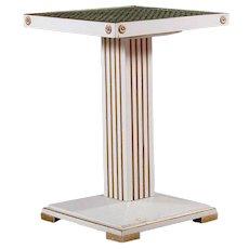 Swedish Jugendstil Painted Pine and Wallpaper Block Top Pedestal Square Side Table