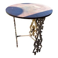 English Painted Cast Iron Baluster Base and Steel Round Garden Side Table