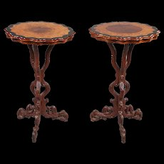 Pair of German Black Forest Burl Walnut and Alder Root Side Tables