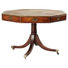 English Regency Style Leather Top Mahogany Veneered Drum or Rent Table