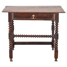 English Baroque Style Oak Bobbin Turn Side Table