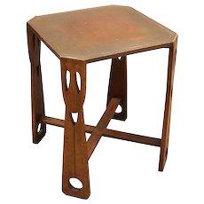 English Art Nouveau Copper Clad Square Side Table