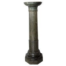 Italian Variegated Green Marble Round Pedestal