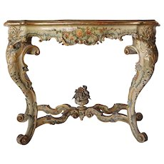Italian Florentine 18th Century Style Floral Painted Console Table
