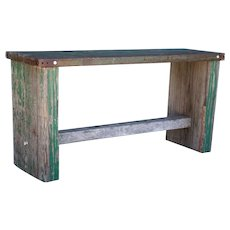 Post Industrial Green Painted Wood and Steel Top Bench/Low Table