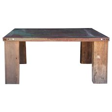 Post Industrial Teak Square Steel Top Low Coffee Table