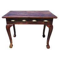 English Chippendale Style Two-Drawer Teak Writing Table