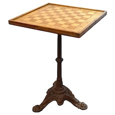 American Inlaid Wood Games Board Top Cast Iron Pedestal Side Table