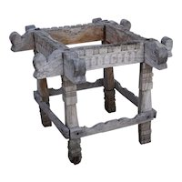 Southern India Kerala Carved Teak Square Varpu / Water Pot Stand