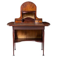 French LOUIS MAJORELLE Art Nouveau Marquetry Mahogany Desk
