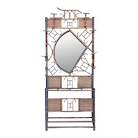 English Aesthetic Movement Bamboo Mirrored Hall Tree