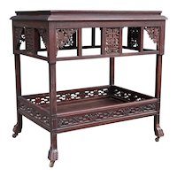 American Aesthetic Movement Rosewood Two-Tier Side Silver Table