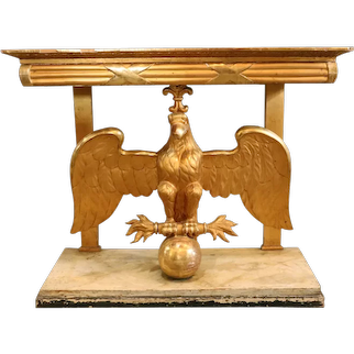 Swedish Karl Johan Gilt Marble Top Eagle Console Table