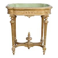 French Louis XVI Style Gilt Gesso Jardiniere Planter Table / Wine Cooler