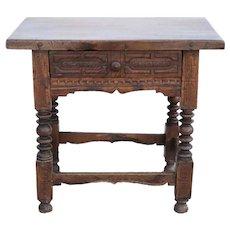 Spanish or Italian Baroque Walnut One-Drawer Side Table