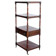 English George III Kingwood or Rosewood Four-Tier Whatnot on Casters