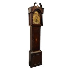 English George III J. Towson Inlaid Mahogany Grandfather Clock
