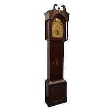 English George III J. Towson Inlaid Mahogany Grandfather Clock
