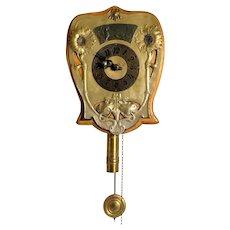 Unusual German Art Nouveau Brass and Beechwood Wall Clock