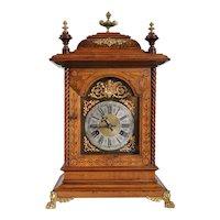 Large German Junghans Gilt Mounted Walnut Bracket Clock