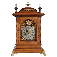 Large German Junghans Gilt Mounted Walnut Bracket Clock