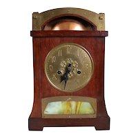 German Jugendstil Copper, Brass Mounted and Green Onyx Mantel Clock