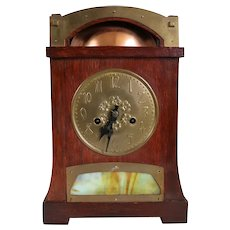 English Liberty & Co. and H.A.C. Arts and Crafts Oak, Brass and Opal Glass Mantel Clock