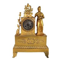 French Empire Ormolu Bronze Figural Mantel Clock