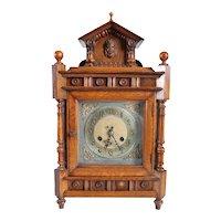 German Renaissance Revival Quarter Sawn Oak Mantel Clock