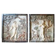 Pair of KNUD KYHN Stoneware Tiled Panels of Adam and Eve