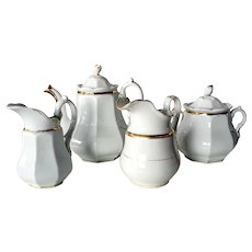 Three-Piece French Old Paris Gold and White Porcelain Tea Set and Pitcher