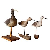 Three Vintage American Painted Wood Shore Bird Carvings on Stands