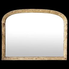 French Giltwood Faux Bois Arched Overmantel Mirror