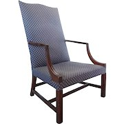American New England Chippendale Period Upholstered Mahogany Armchair