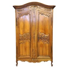 Large French Louis XV Period Pale Walnut Armoire Ref: C2932