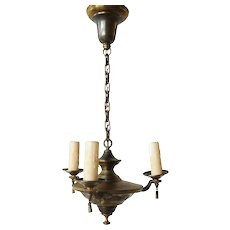 Small American Brass Three-Light Chandelier