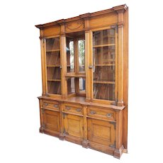 Large Victorian Oak Glazed Door Built-In Bookcase Display Cabinet