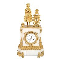 French Napoleon III Fire Gilt Bronze and Marble Figural Mantel Clock