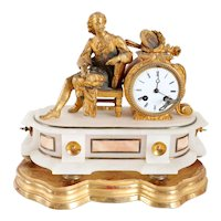 French Philippe H. Mourey Napoleon III Gilt Bronze and Alabaster Figural Mantel Clock