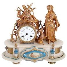 French Parisian Mesnier Fils Gilt Metal, Porcelain and Alabaster Figural Mantel Clock