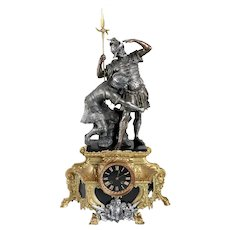 Large French Napoleon III Spelter, Gilt Metal and Black Slate Figural Mantel Clock
