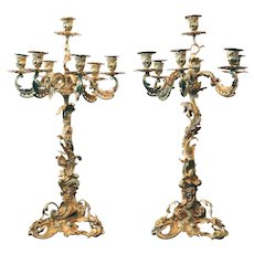 Pair Large French Louis XV Revival Gilt Bronze and Crystal Seven-Light Candelabras
