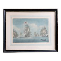THOMAS BURFORD Hand Colored Mezzotint Engraving, Battle of the Nile 1798