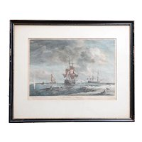 English CHARLES BROOKING Hand Colored Engraving, Greenland Fishery