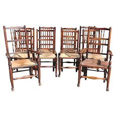 Set of Ten English Yorkshire Oak and Elm Spindleback Rush Seat Dining Chairs