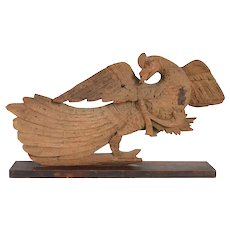 Thai Teak Architectural Peacock Carving on Custom Iron Stand